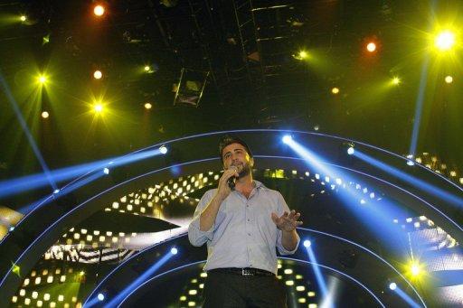 Abdel Karim Hamdan performs on stage during the Arab Idol 2013 TV show on April 20, 2013 in Zouk Mikael, Lebanon (AFP/File, Anwar Amro)