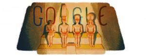 Google doodle of the sun shining inside Abu Simbel.